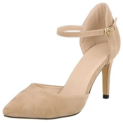 wealsex Escarpins Sandales Suédé Talons Moyen Aiguilles Confort Femme Bout  Pointu Bride Cheville Boucles Chaussure Elégant f67126972e4f