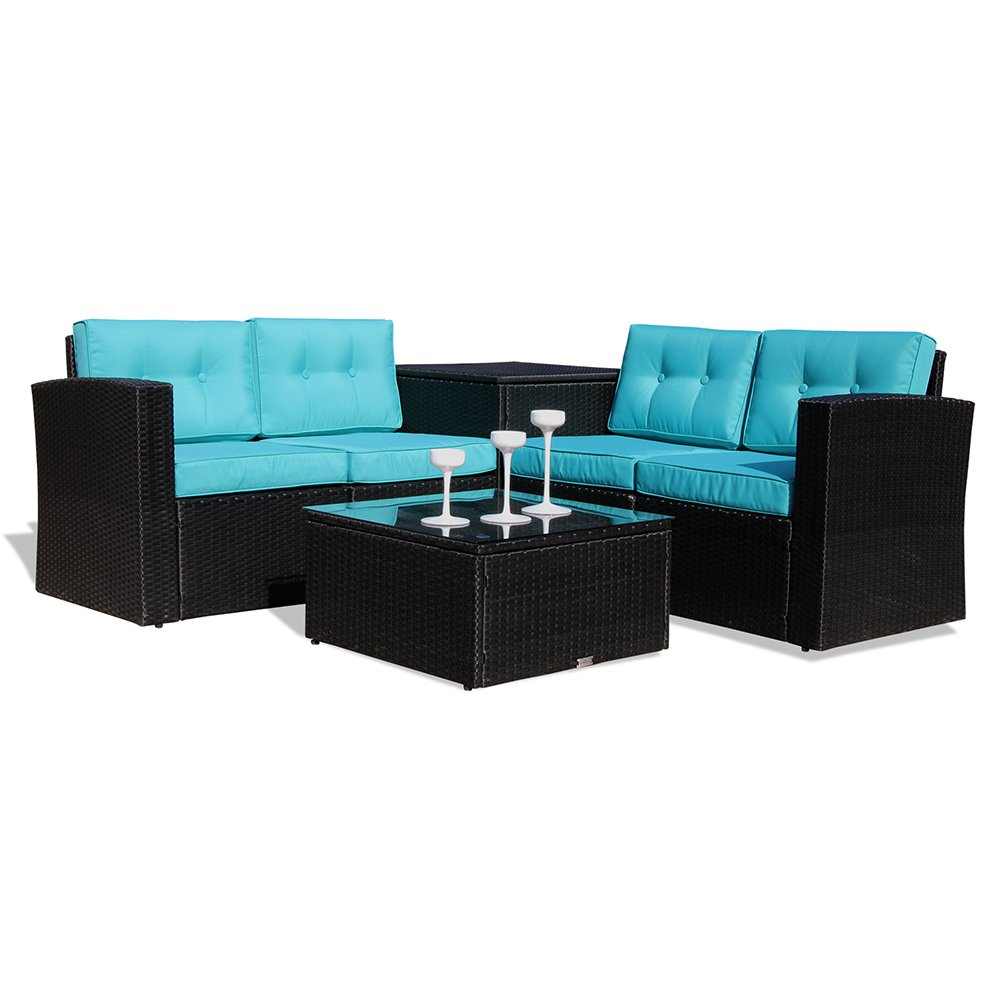 Patio Furniture Sectional Sofa 6 Piece All-Weather Black Wicker Rattan with Cushions & Glass Coffee Table & Storage Table, Aluminum Frame (Blue)