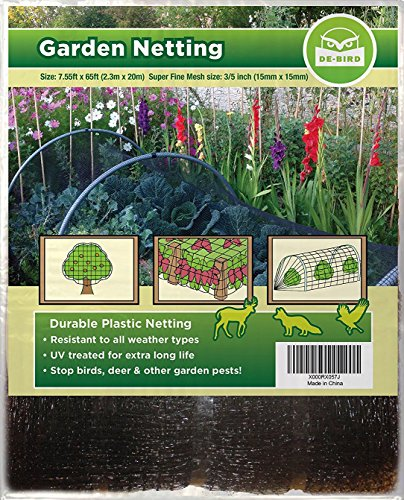 Bird Netting [Heavy Duty] Protect Plants and Fruit Trees - Extra Strong Garden Net is Easy to Use, Doesn't Tangle and Reusable - Lasting Protection Against Birds, Deer and Other Pests (7.5x65 Foot) (Plastic Bird Netting)