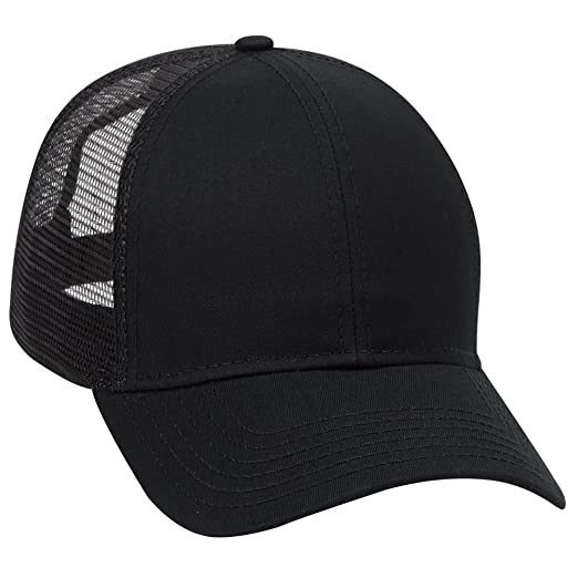 fd43cfcb65812 Product of Ottocap Cotton Twill Six Panel Low Profile Mesh Back Trucker Hat  -Black  Wholesale Price on Bulk  at Amazon Men s Clothing store