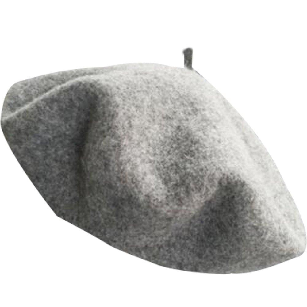 MUDINGXIU Women Girls Solid Color Wool Winter Beret French Artist Beanie Hat Ski Cap 7811