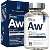 Organic Ashwagandha Root 1950mg with Organic Black Pepper Extract for Absorption | Essential Elements - Vegan