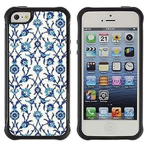 WAWU Funda Carcasa Bumper con Absorci??e Impactos y Anti-Ara??s Espalda Slim Rugged Armor -- wallpaper birds flowers white blue -- Apple Iphone 5 / 5S