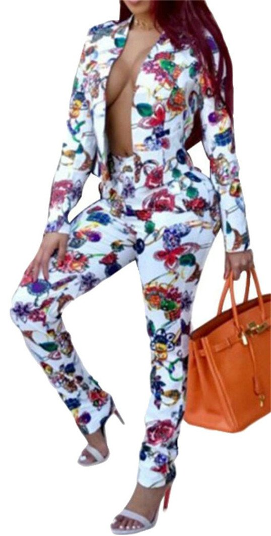 LD Womens Floral Print Lapel Blazer Jacket Suit Pant Stylish Set 2 Piece