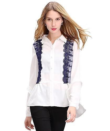 NiSeng Elegante Blusa de Boton Camisetas de Encajes Tunica OL Ocasionales Chiffon Camisas para Mujer...