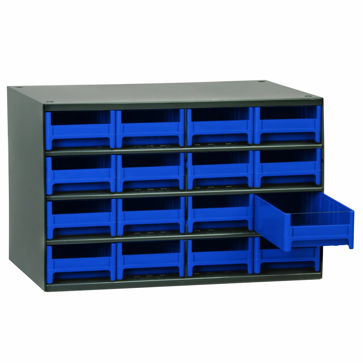 Akro-Mils 19416 17-Inch W by 11-Inch H by 11-Inch D 16 Drawer Steel Parts Storage Hardware and Craft Cabinet, Blue Drawers