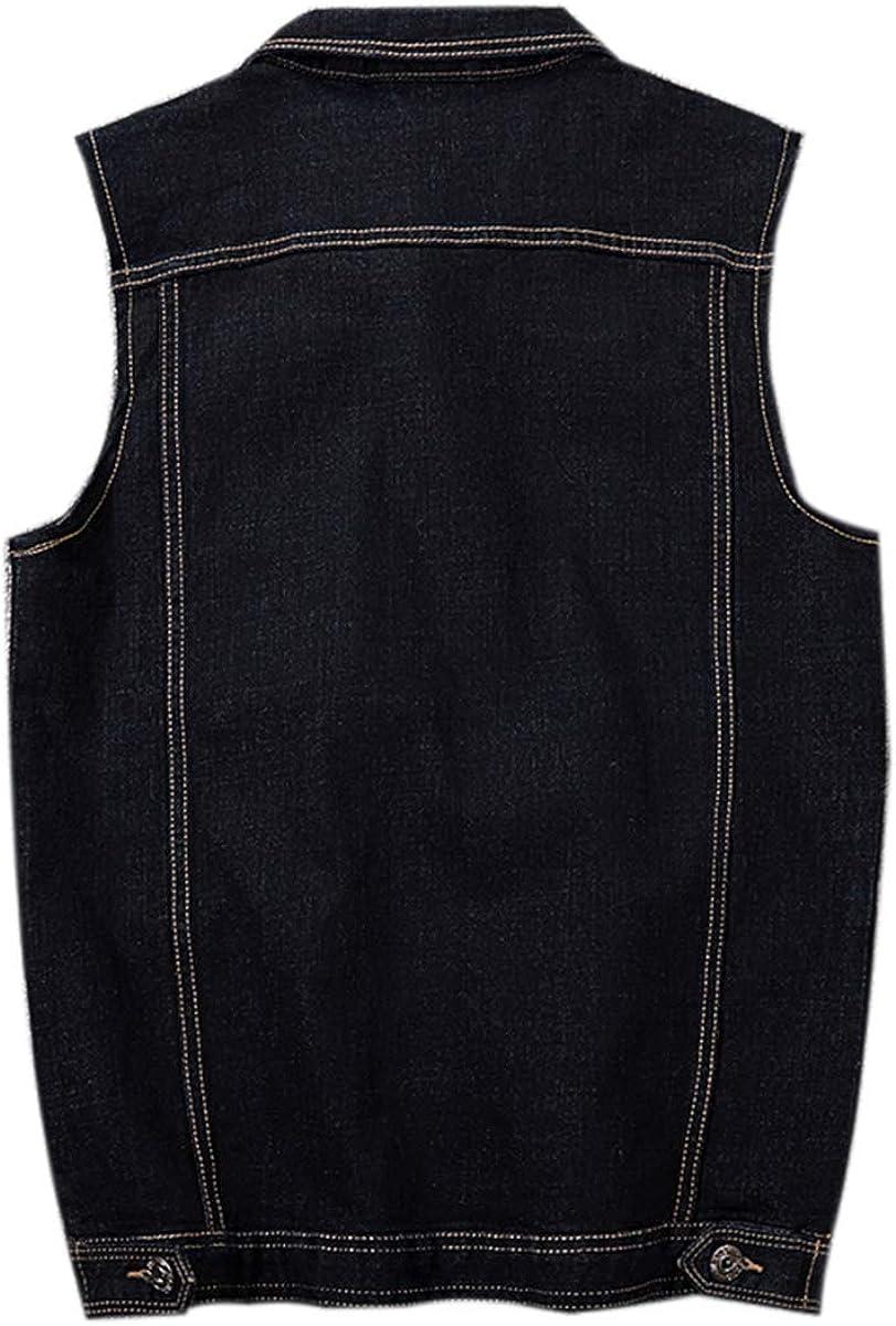PRIJOUHE Mens Denim Vest Jean Vest Black Denim Motorcycle Black Blue Biker Plus Size Sleeveless