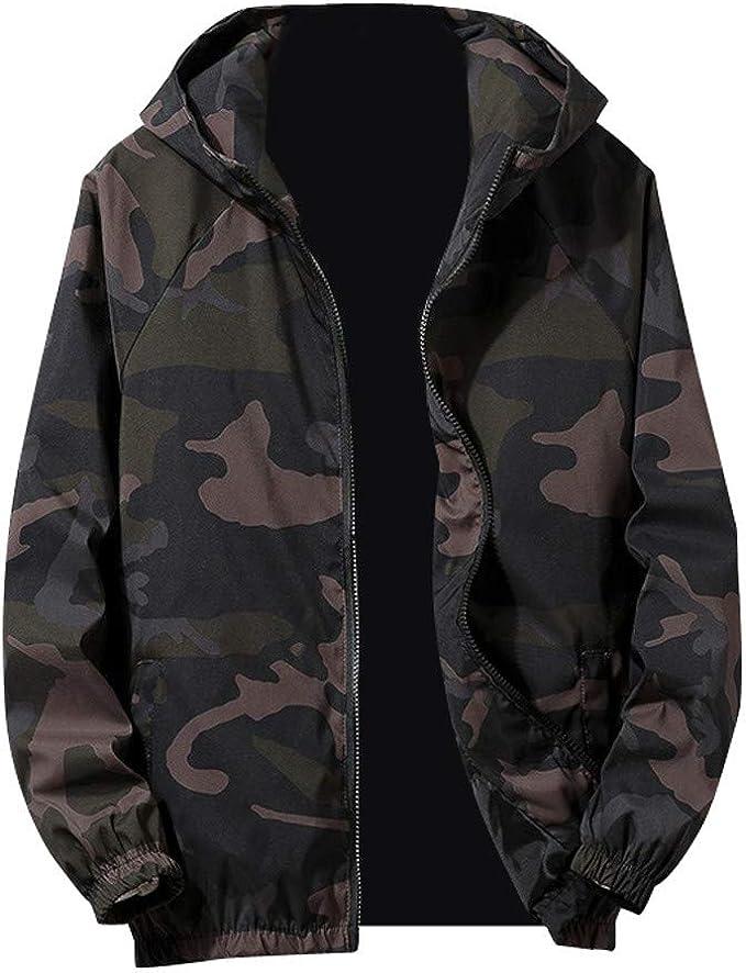 TEBAISE Herren Windbreaker Camouflage Übergangs Jacke