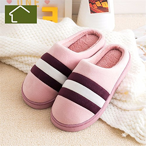 Home de Winter interiores Lady SHOES zapatillas B algodón antideslizante YMFIE simple Rayas cálidos qvwtXqxHI