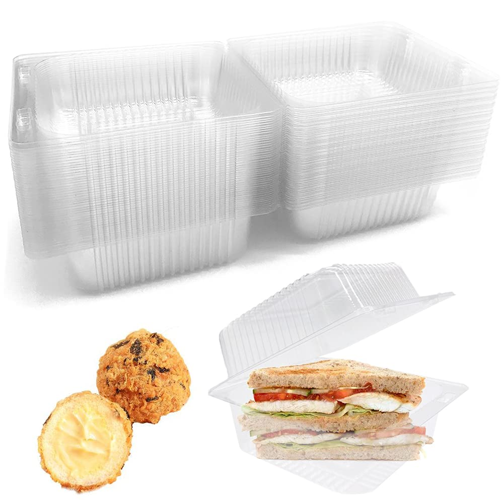 Clear Plastic Square Hinged Food Container,50 Pcs Clear Plastic Take Out Containers,Disposable Clamshell Fruit Salads Hamburger Sandwiches Cupcake Cups Holders Cases Boxes Containers with Lids