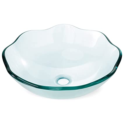 Miligoré Modern Glass Vessel Sink   Above Counter Bathroom Vanity Basin  Bowl   Scalloped Clear
