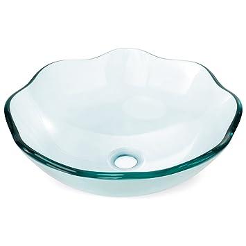 Miligoré Modern Glass Vessel Sink Above Counter Bathroom Vanity