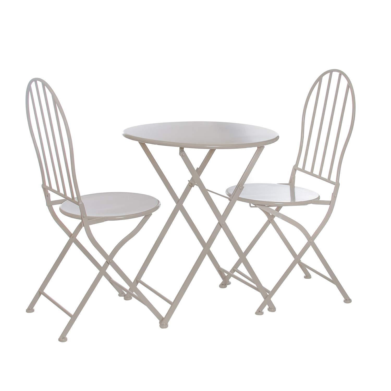 Set 1 tavolo e 2 sedie in ferro KASANOVA