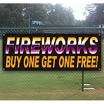 Fireworks BOGO Free 13 oz Heavy Duty Vinyl Banner Sign with Metal Grommets Store New Many Sizes Available Advertising Flag,