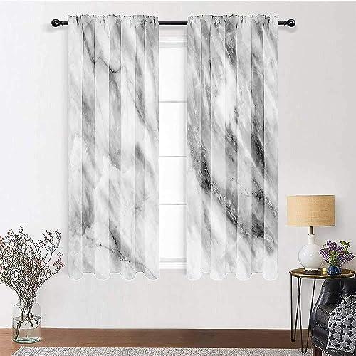 Living Room Curtain Marble Eco-Friendly Blackout Shades Marble Surface Textured Hazy Cracks and Veins Shady Limestone Ceramic Artful Print