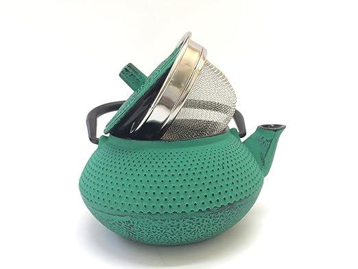 Tetera de hierro colado con filtro - capacidad 0.3 litros y color verde - teteras para vitroceramica, inducción y gas – tetera de metal pequeña tamaño ...
