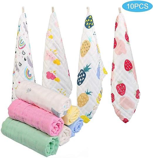 Pañuelos de Muselina para bebés, Paquete de 10, toallitas de algodón de Muselina Natural, paño de
