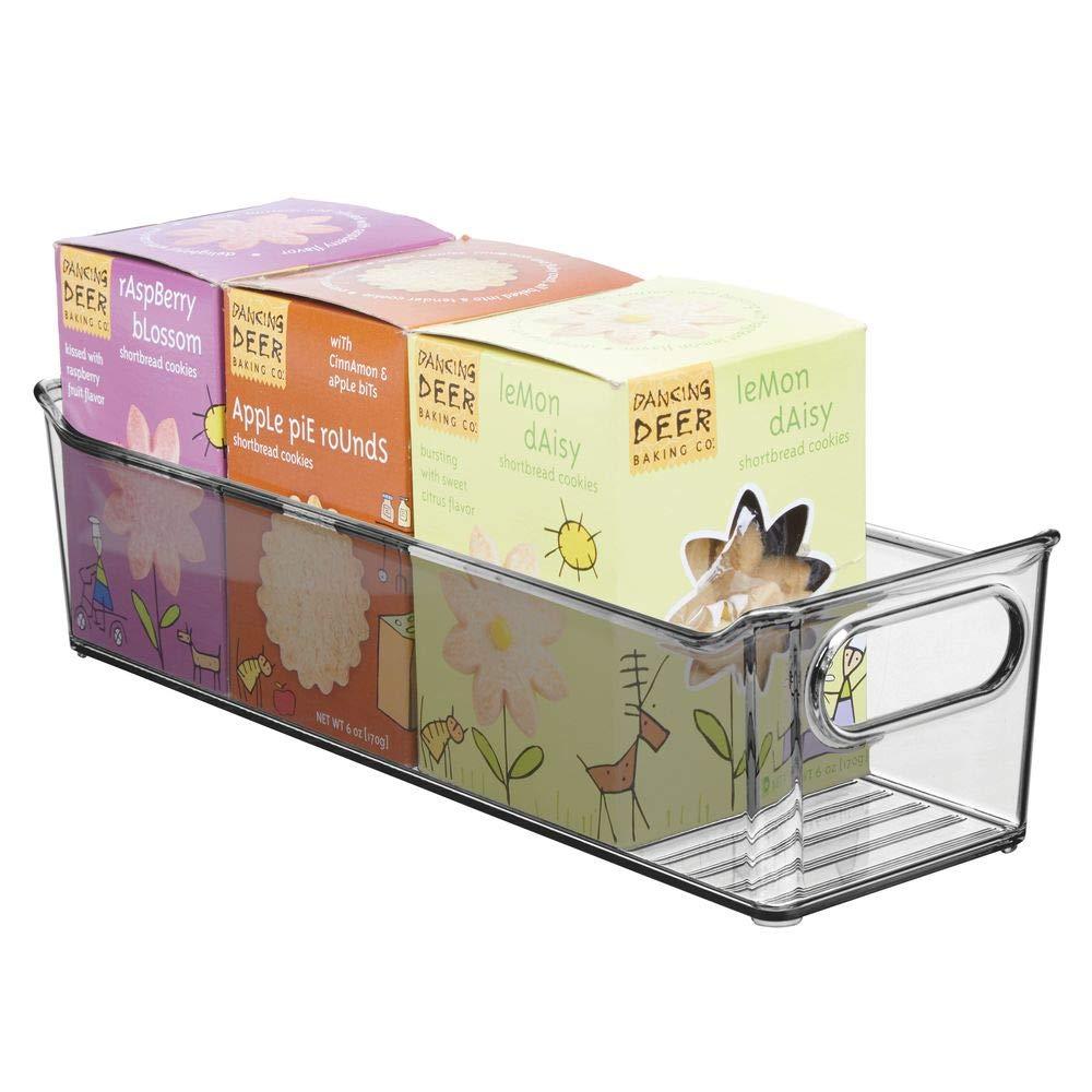 mDesign 2er-Set Aufbewahrungsbox f/ür die K/üche durchsichtig stapelbare K/ühlschrankkorb aus Kunststoff Obst und andere Lebensmittel K/ühlschrankbox f/ür Milchprodukte