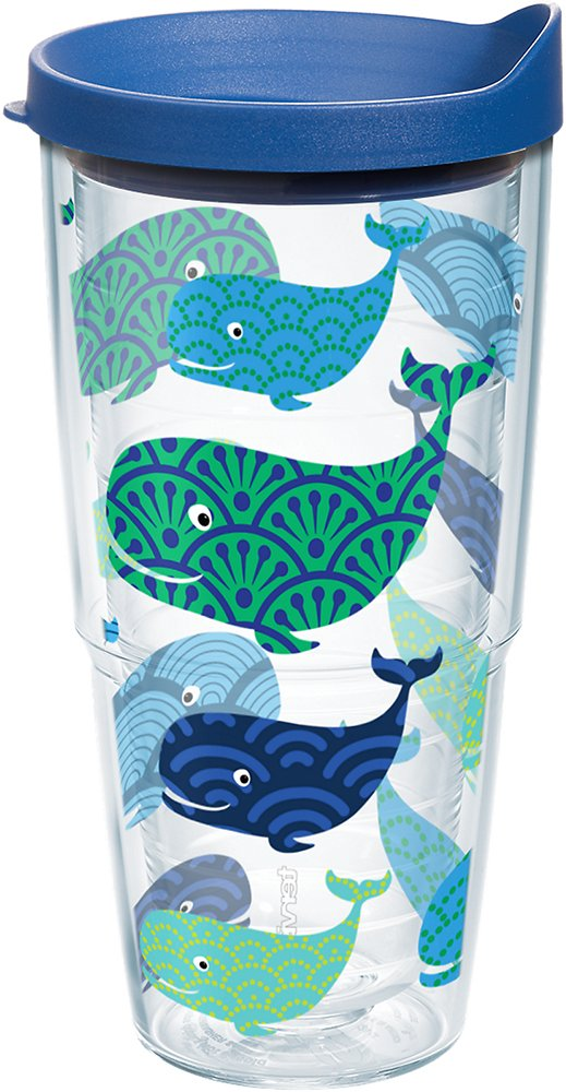 Tervis 1154230 Whale Insulated Tumbler with Wrap and Blue Lid, 24 oz, Clear