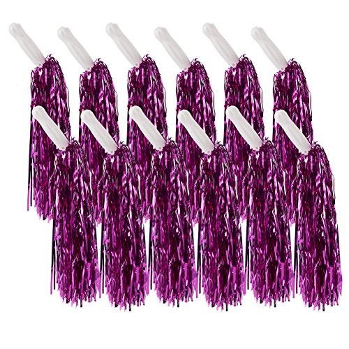 Cheerleader Pom Poms – 12 Pack Metallic Cheerleading