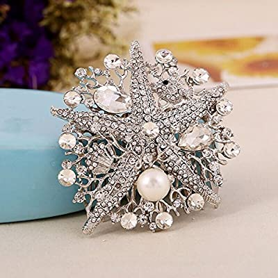Sunshinesmile Bridal Wedding Starfish Crystal Hair Combs Jewelry Pearl Rhinestone Tiara Combs