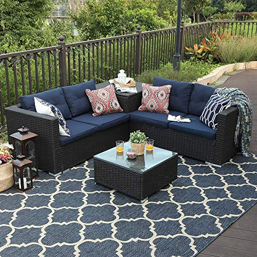 PHI VILLA 4 Piece Patio Sectional Furniture Outdoor Sofa Set with Cushion Box Storage – Navy Blue