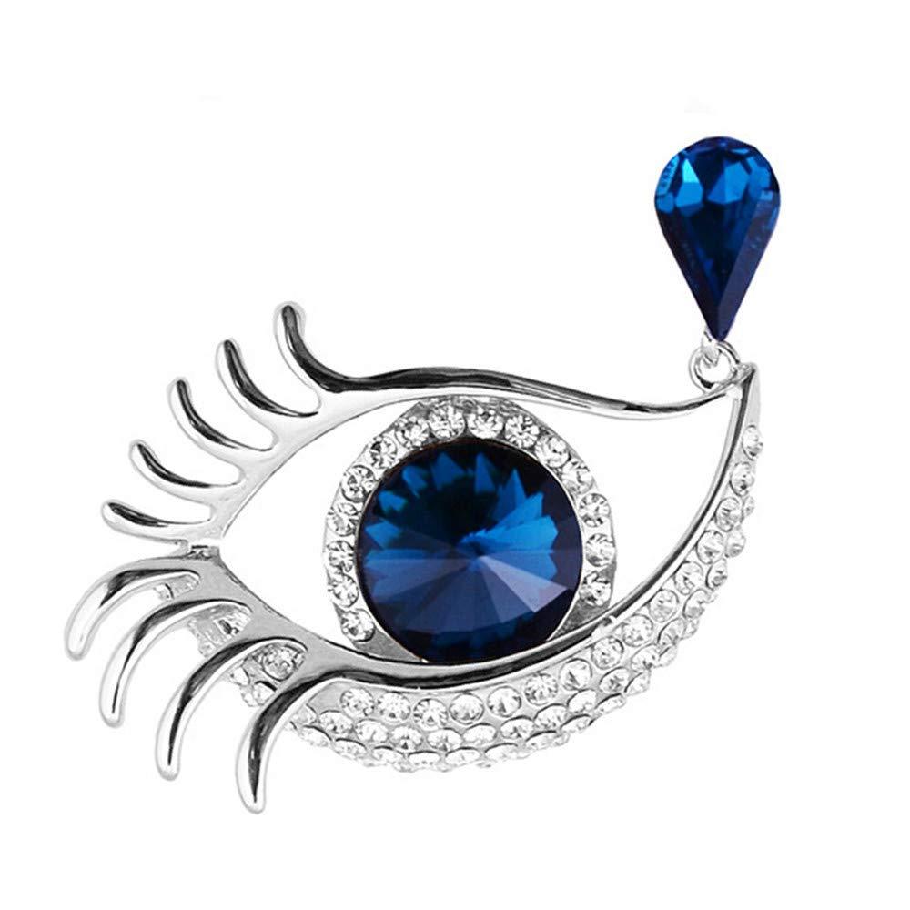 Diamantes de imitación de cristal grandes ojos Broche Lágrima Diseño Broche Pin Mujeres Joyería Regalo