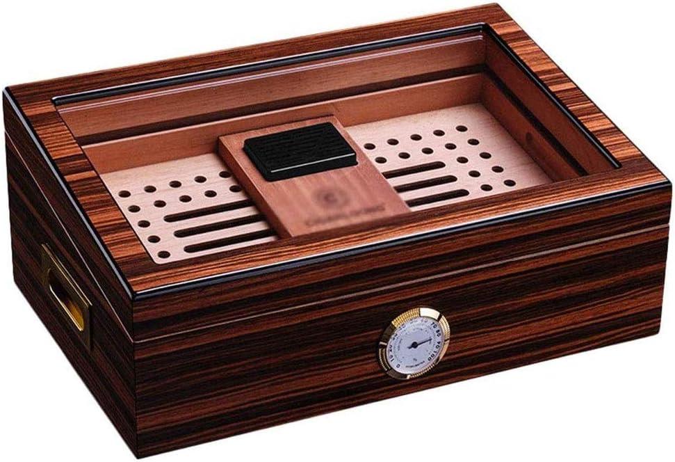 Kylin-u ヒュミドール、デジタルポータブルシーダー葉巻ヒュミドールトラベルケースシーダー内蔵湿度計スタンド、木製ボックス、透明サンルーフ