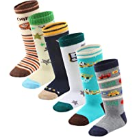 7 Pairs Toddler Boy Non Skid Socks Knee High Cotton with Grips, Baby Boys Anti-skid Socks