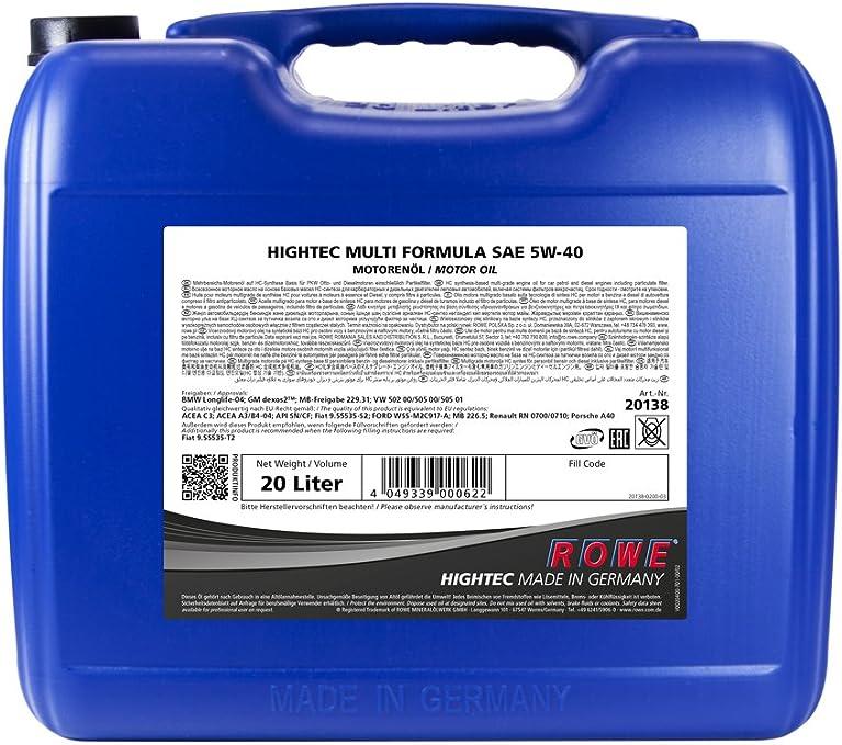 Rowe Hightec Multi Formula Sae 5w 40 20 Liter Pkw Motoröl Vollsyntethisch Hc Synthese Made In Germany Auto