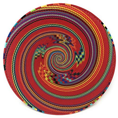 Bridge for Africa Fair Trade Zulu Telephone Wire 16-inch Platter Basket, Red Rainbow