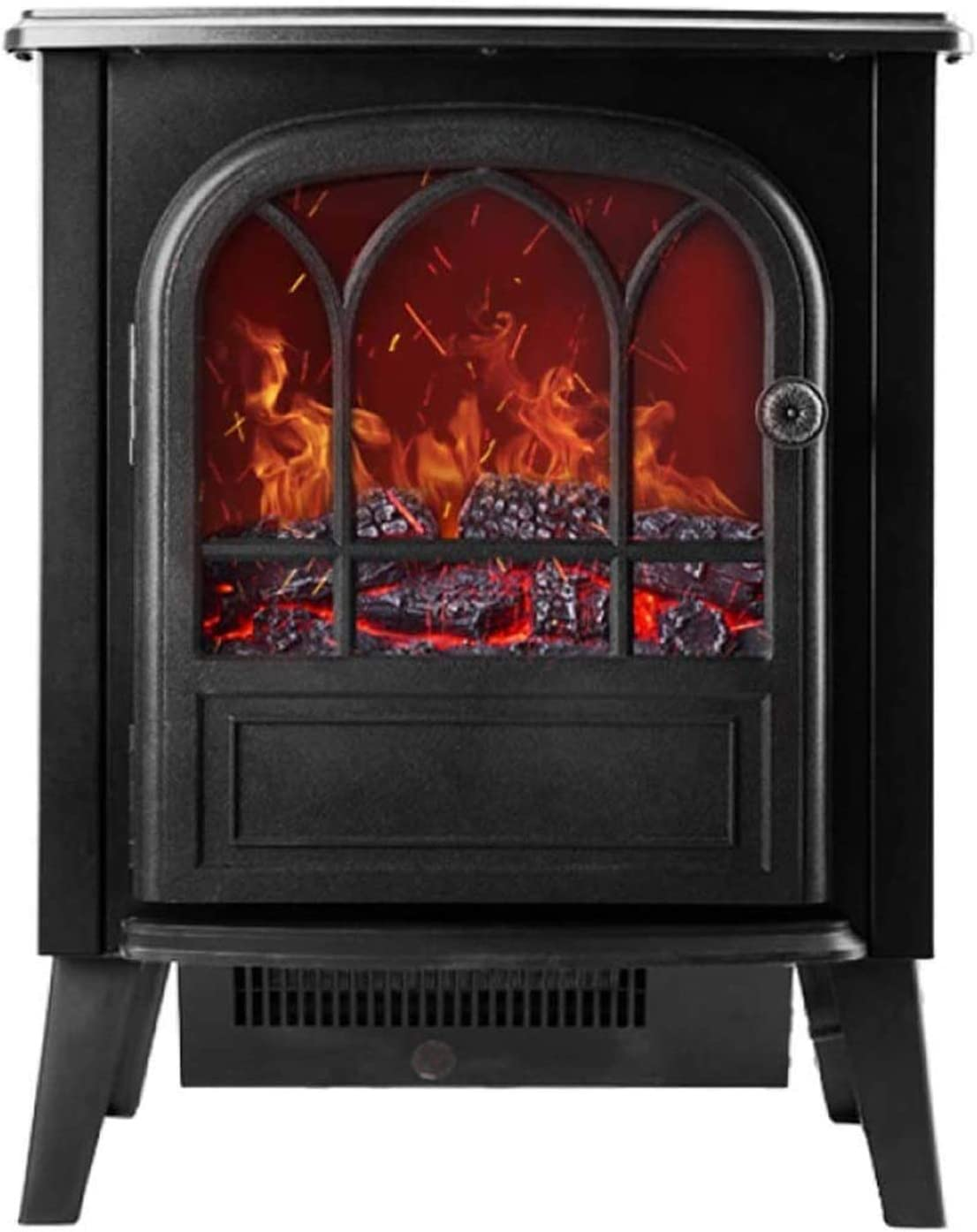 Wgwioo Electric Fire Stove Heater Fireplace, 3D Realistic Log Wood Burning Flame Effect, Free Standing Space Heater 2 Heat Settings 900W/1800W,Black