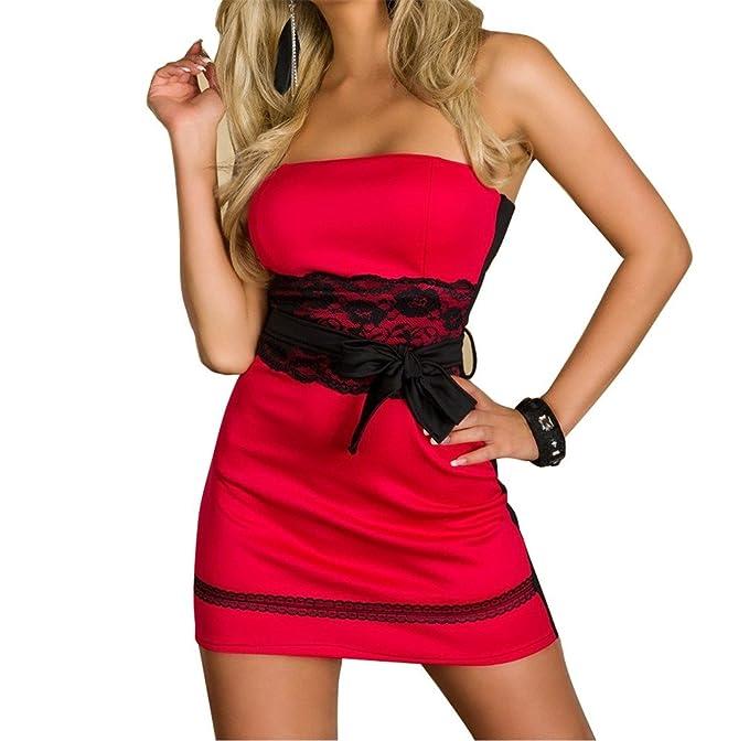 Qiyun Mujeres Contraste Punta lazo cintura portador sueltas Manguera exterior Corto Vestido Rojo Sexy lencería Club