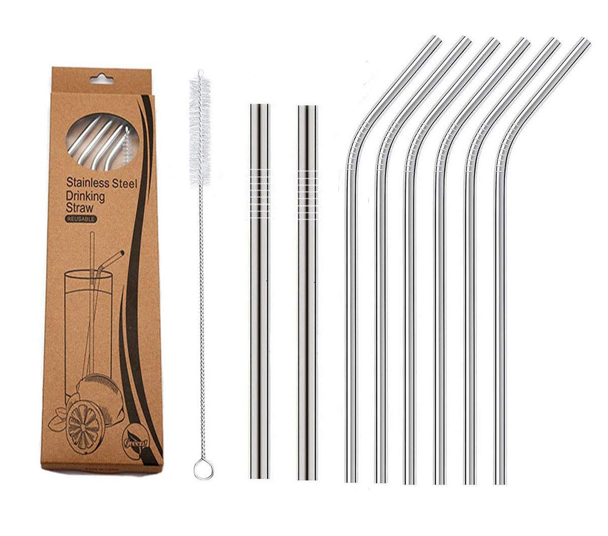 Ssuger9 Stainless Steel Straws Reusable 8 Set,Straws with 1 Cleaning Brush for Smoothie, Milkshake, Cocktail, Milk tea and for 30oz Tumblers Cups Mugs