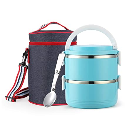 d47b25ecc46c Stackable Stainless Steel Lunch Box, Food Container with Insulated Lunch  Bag and Foldable Spoon, Leak Proof Bento Lunch Box for Adults Kids Students  ...