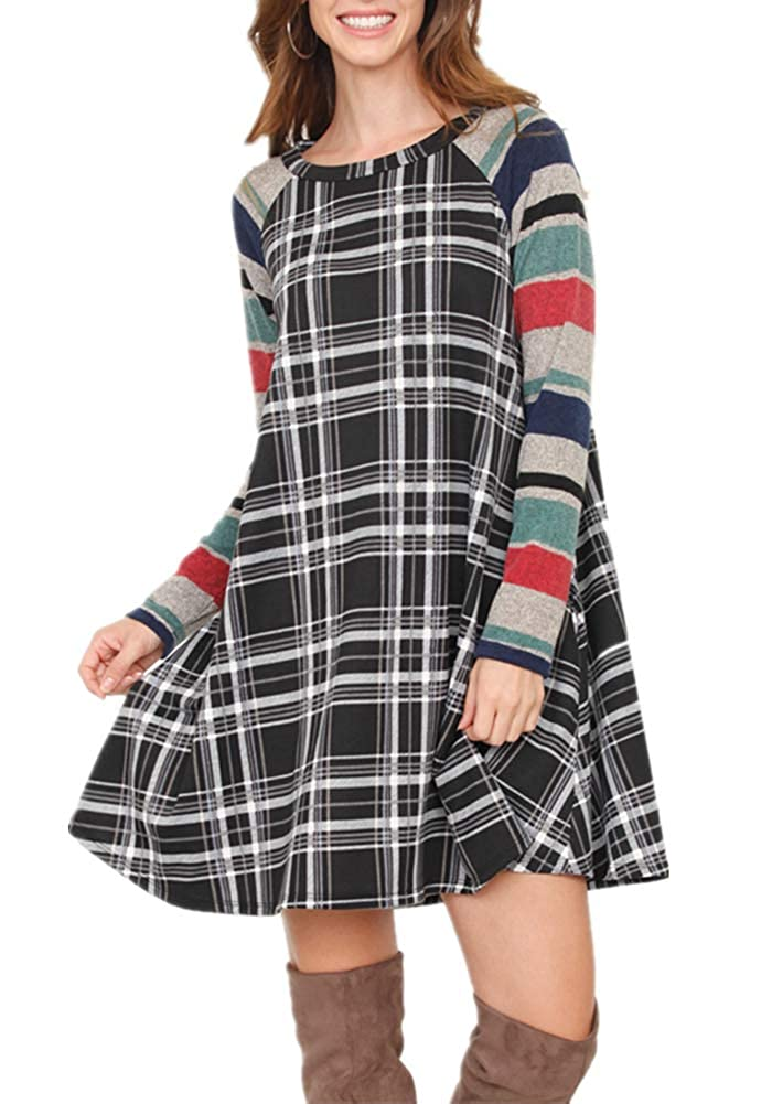 Bblack White Poulax Women's Casual color Block Long Sleeve Loose Basic Swing Pocket Shift Dress in Plaid