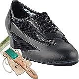 Women's Ballroom Dance Shoes Salsa Latin Practice Dance Shoes Black leather 2009EB Comfortable - Very Fine 1.5'' Heel 9 M US [Bundle of 5]