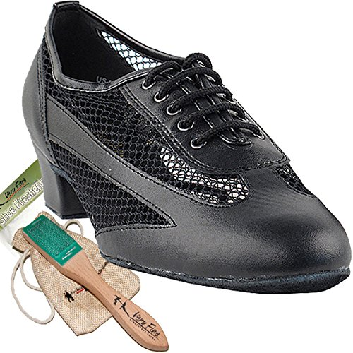 ce Shoes Salsa Latin Practice Dance Shoes Black leather 2009EB Comfortable - Very Fine 1.5