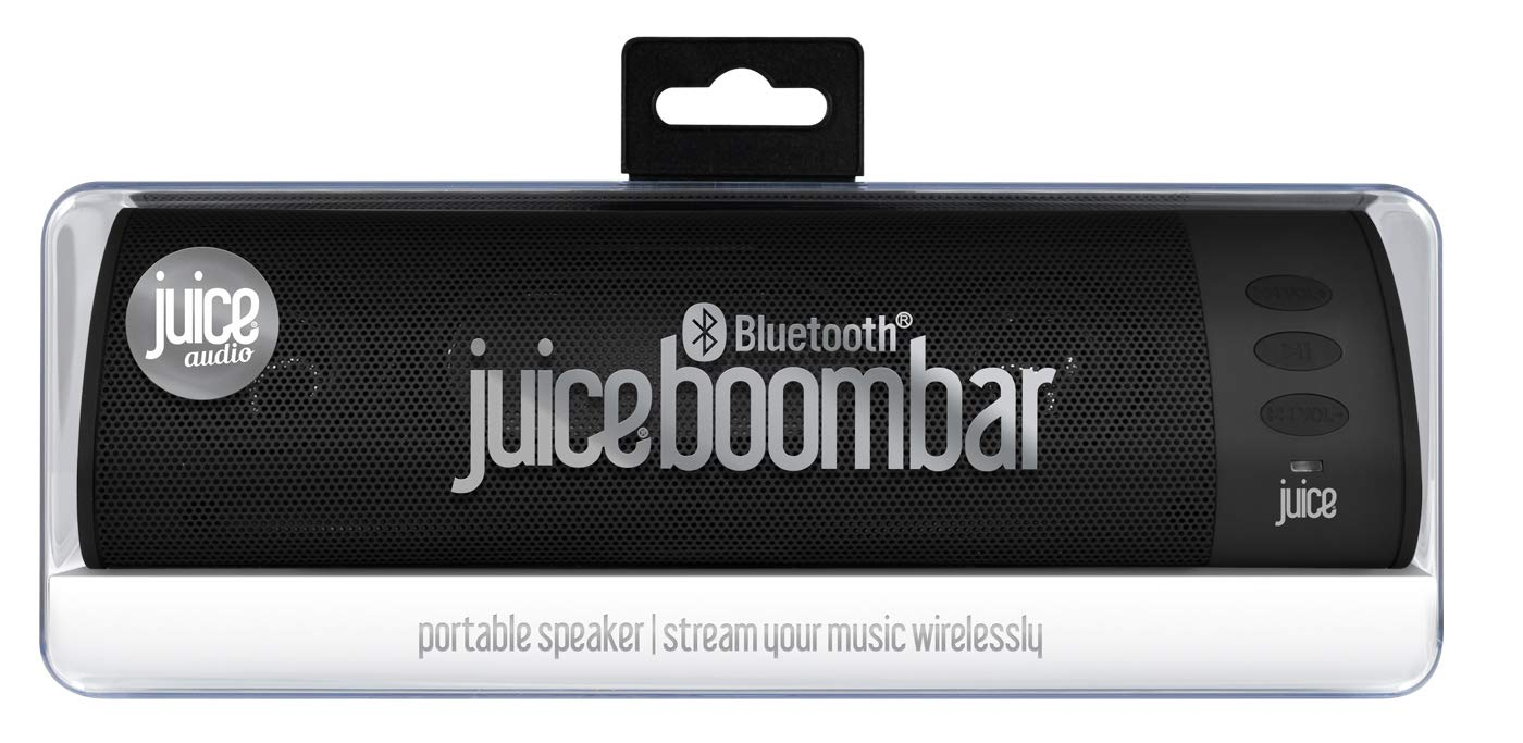 Juice Boom Portable Bluetooth Speaker, Wireless Rechargeable Device, Super Bass Stereo Speaker, for Smartphone, Mp3 Player, Tablet, Laptop, PC, Travel, Black