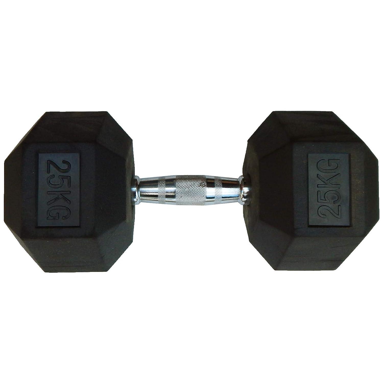 Capetan Professional Line 25 kg HEX Einhand-kurzhantel für Fitnessraum mit gummierten Köpfen und verchromtem Griff - gummierte Hexagonhantel