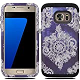 Galaxy S7 Case, S7 Case, MagicSky [Shock Absorption] Hybrid Dual Layer Armor Defender Protective Case Cover for Samsung Galaxy S7 (2016) - Black/Flower2