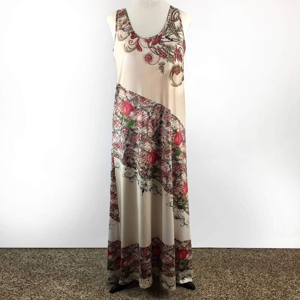 Beige with Roses & Printed Embroidery Sleeveless Spandex Maxi Dress Plus Size 2X