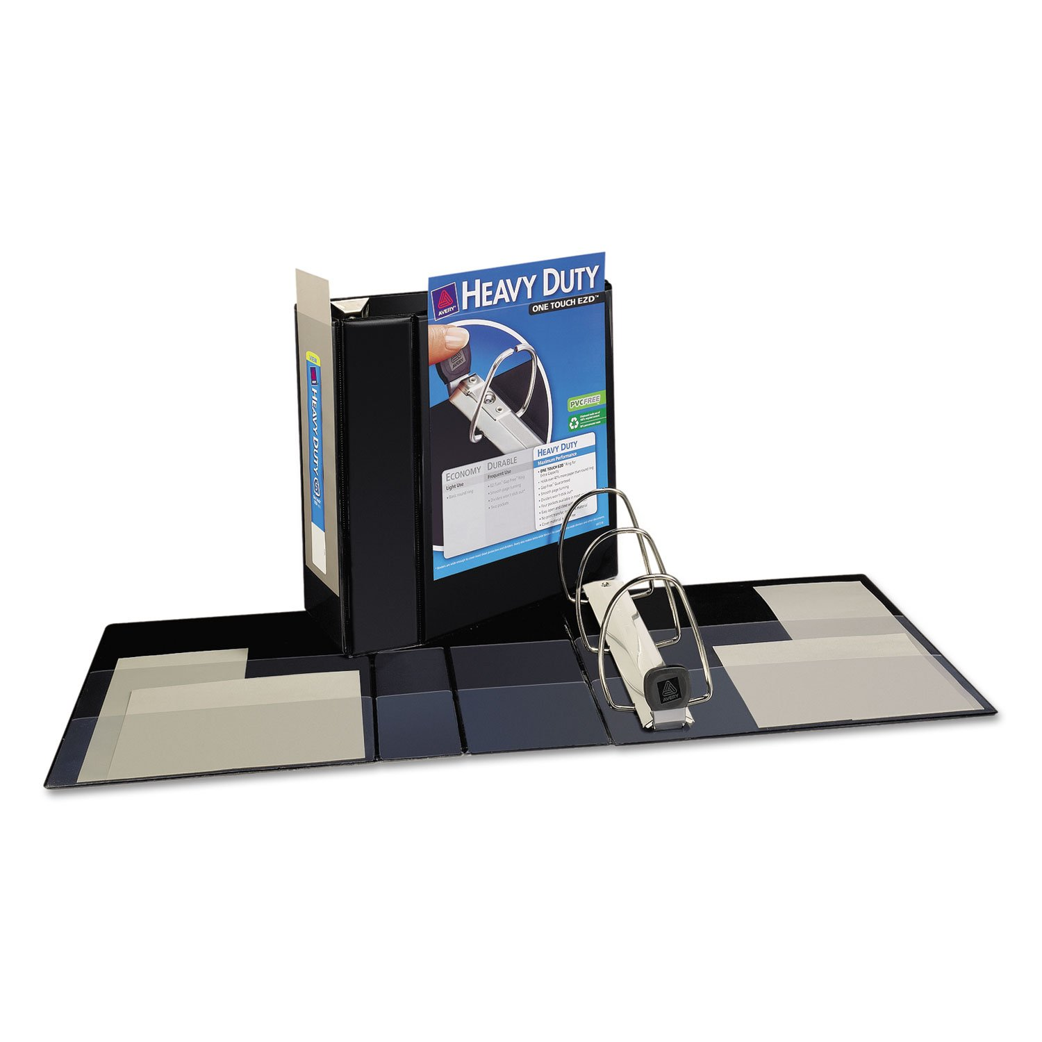 Nonstick Heavy-Duty EZD Reference View Binder 5'' Capacity Black