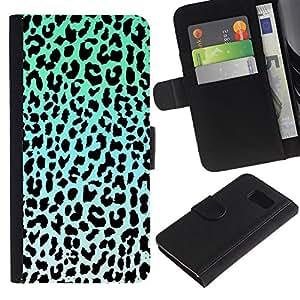 A-type (Leopard Pattern Blue Black White Green) Colorida Impresión Funda Cuero Monedero Caja Bolsa Cubierta Caja Piel Card Slots Para Samsung Galaxy S6