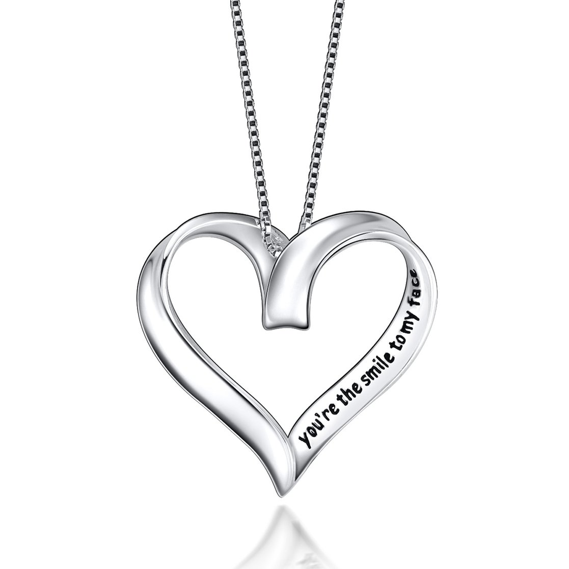 18 inches SILVERLUXY Fine Jewelry Sterling Silver Heart in Love Charm Pendant Necklace