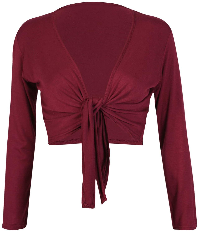 PurpleHanger Women's Long Sleeve Bolero Crop Cardigan Tie Shrug