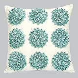 Jubilee Dahlia Flower Pillow-Turquoise