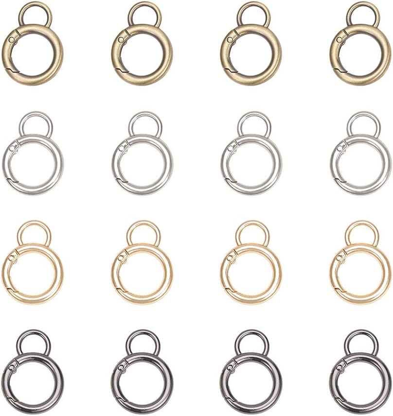 PandaHall Elite 8 pcs 4 Colors Zinc Alloy Key Clasps Spring O Ring Round Carabiner Snap Clip Hook Trigger Spring Keyring Buckle for Bags Purses Keychain