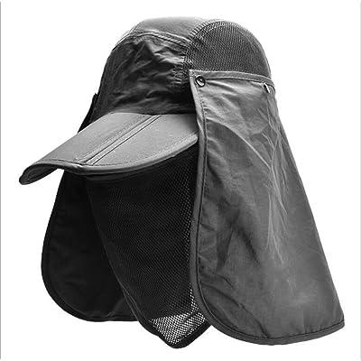 360 ° Cap Chapeau de pêche pour hommes / femmes bonne ventilation avec rabats (rabat amovible) Chapeau Protection Chapeau respirant avec masque amovible Sun Shield