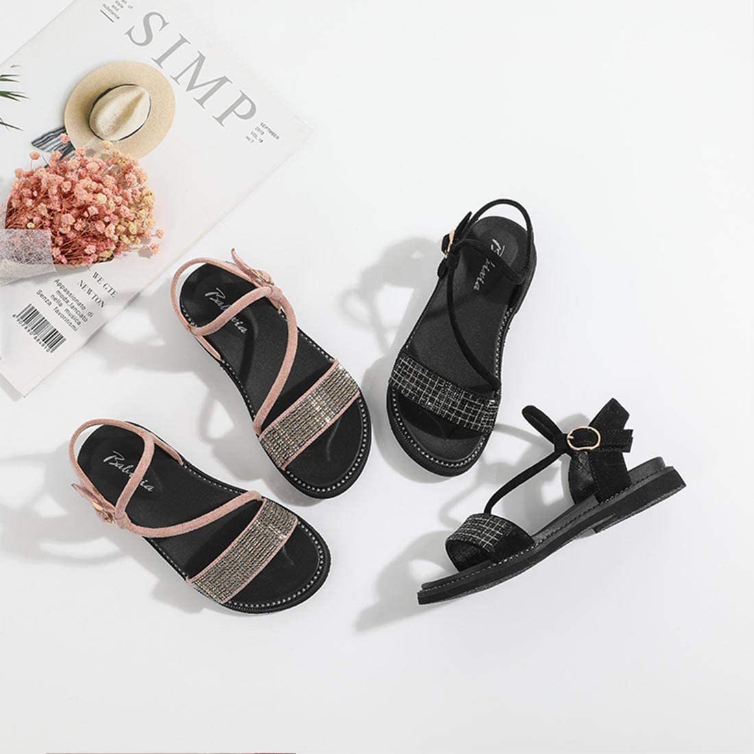 JTENGYAO Girls Gladiator Flat Sandals Summer Open Toe Ankle Strap Beach Shoes